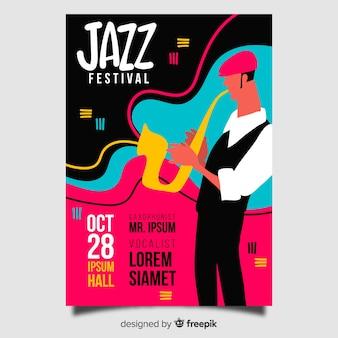 Plantilla de cartel de jazz abstracto dibujado a mano