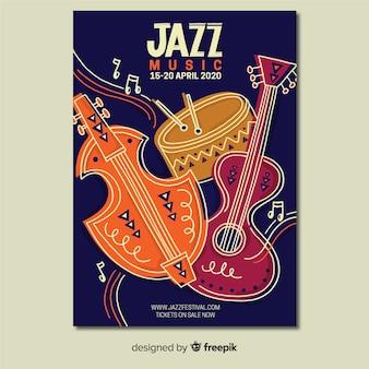 Plantilla de cartel de jazz dibujado a mano abstracto
