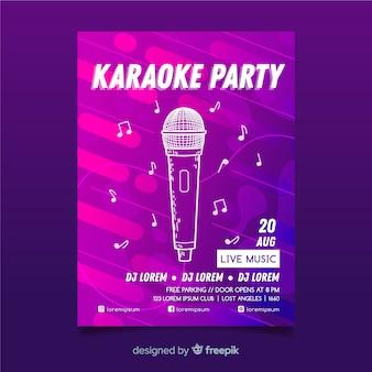 Plantilla de cartel de karaoke degradado abstracto