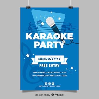 Plantilla de cartel de karaoke estilo plano