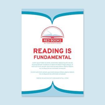 Plantilla de cartel de lectura plana
