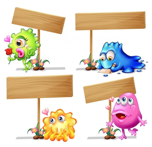 Plantilla de cartel de madera con monstruos