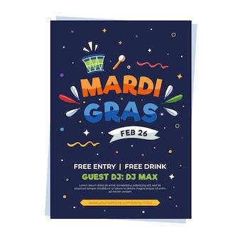 Plantilla de cartel de mardi gras de diseño plano