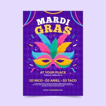 Plantilla de cartel de mardi gras en diseño plano