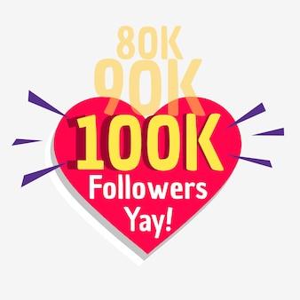 Plantilla de cartel de mensaje de éxito 100k seguidores sociales