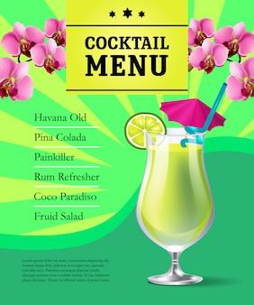 Plantilla de cartel de menú de cóctel. bebida fría en vidrio y flores de orquídeas