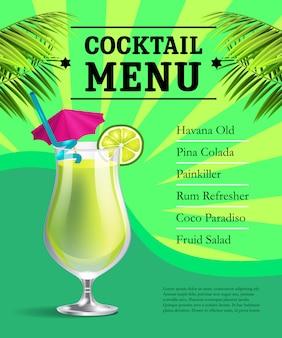 Plantilla de cartel de menú de cóctel. vaso con bebida y limón y hojas de palma