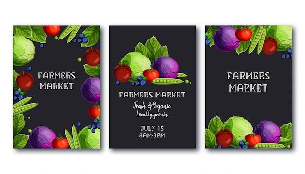 La plantilla del cartel del mercado de los granjeros fijó con las verduras y frutas frescas y el texto