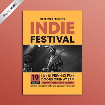 Plantilla de cartel minimalista del festival de música indie rock