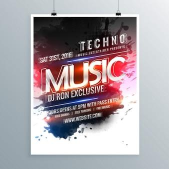 Plantilla de cartel moderno de música techno