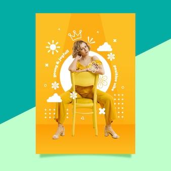 Plantilla de cartel de mujer de moda de ambiente positivo