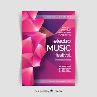 Plantilla de cartel de música 3d abstracto