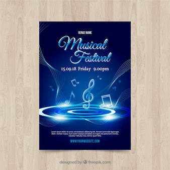 Plantilla de cartel de música brilloso azul
