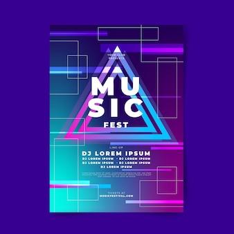Plantilla de cartel de música degradado abstracto