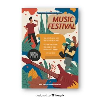 Plantilla de cartel de música dibujada a mano