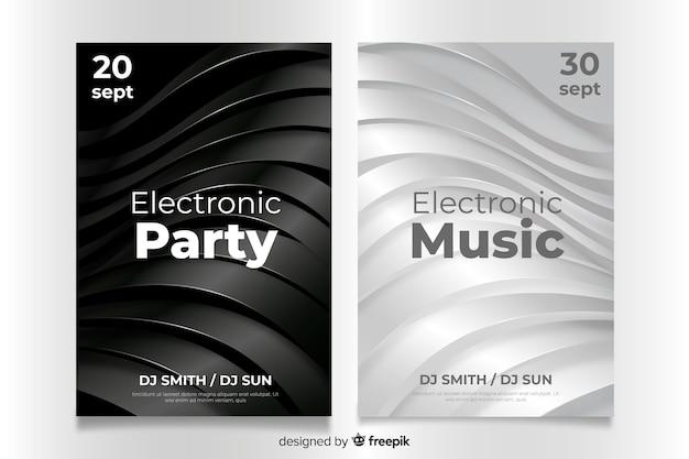 Plantilla de cartel de música electrónica 3d abstracto