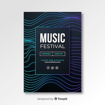 Plantilla de cartel de música electrónica abstracta