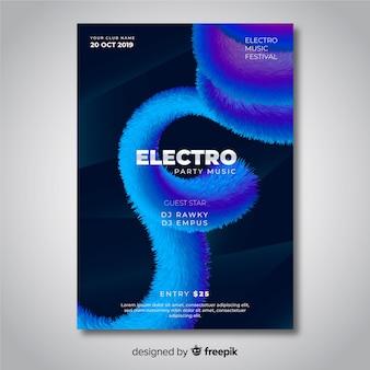 Plantilla de cartel de música electrónica de efecto 3d abstracto