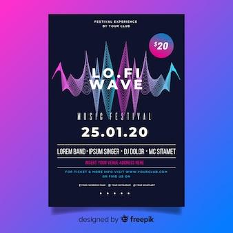 Plantilla de cartel de música electrónica de onda abstracta