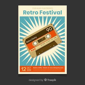 Plantilla de cartel de música festival retro