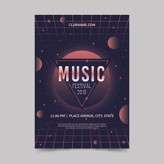 Plantilla de cartel de música futurista retro
