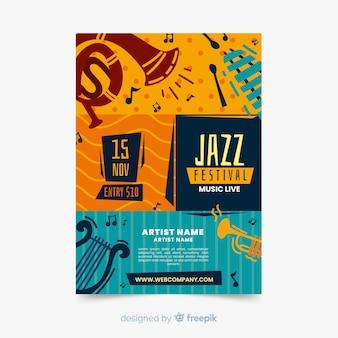 Plantilla de cartel de música jazz dibujado a mano abstracto