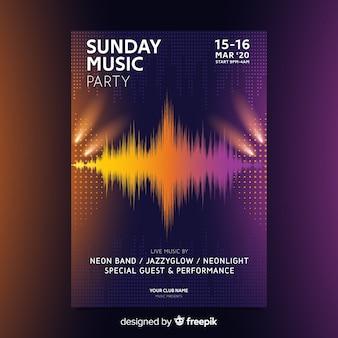 Plantilla de cartel de música de onda abstracta de música electrónica