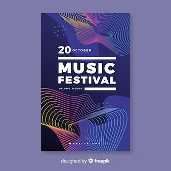 Plantilla de cartel de música de ondas abstractas coloridas
