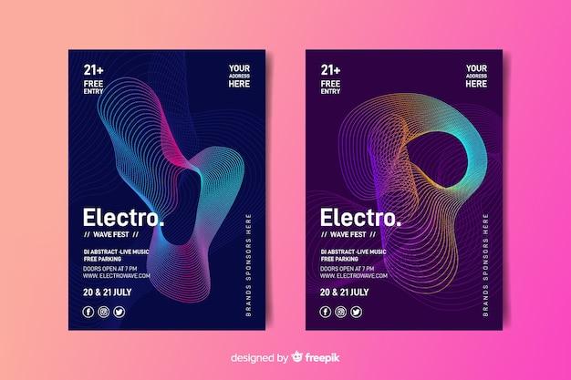 Plantilla de cartel de música de ondas abstractas