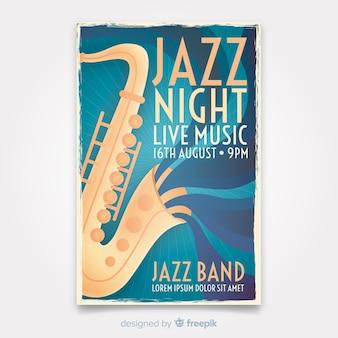 Plantilla de cartel de música retro jazz con saxofón