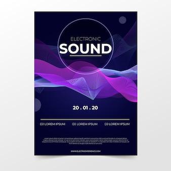 Plantilla de cartel de música de sonido de onda abstracta