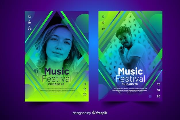 Plantilla de cartel musical colorido abstracto con foto
