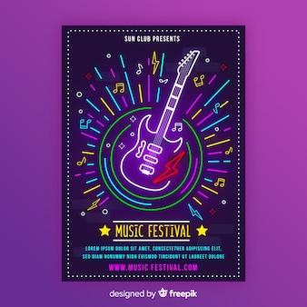 Plantilla de cartel musical de neón con guitarra eléctrica