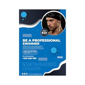 Plantilla de cartel de natación con foto vector gratuito