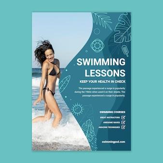 Plantilla de cartel de natación con foto