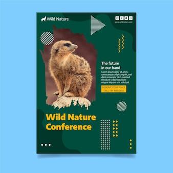 Plantilla de cartel de naturaleza salvaje con foto