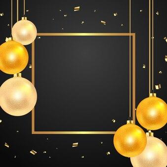 Plantilla de cartel de navidad y año nuevo con brillantes estrellas de bolas de marco dorado y confeti en negro