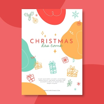 Plantilla de cartel de navidad festivo ilustrada