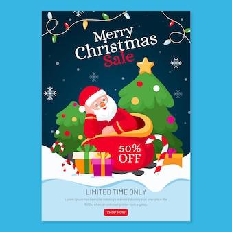 Plantilla de cartel de navidad para ventas con ilustraciones