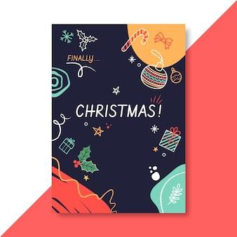 Plantilla de cartel navideño festivo con ilustraciones