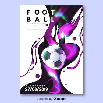 Plantilla de cartel o poster con temática de fútbol, diseño de flyer