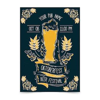 Plantilla de cartel de oktoberfest con cerveza