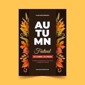 Plantilla de cartel de otoño vertical realista