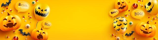 Plantilla de cartel y pancarta de halloween con lindos globos de calabaza, murciélago, dulces y fantasmas de halloween sobre fondo amarillo. sitio web espeluznante,