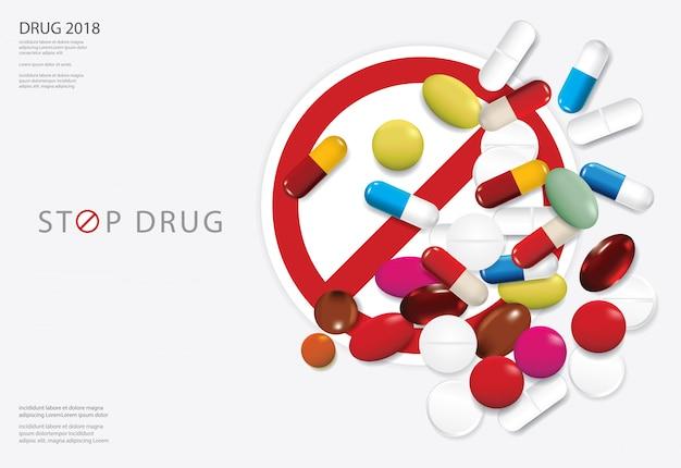 Plantilla de cartel parada de drogas vector illustration