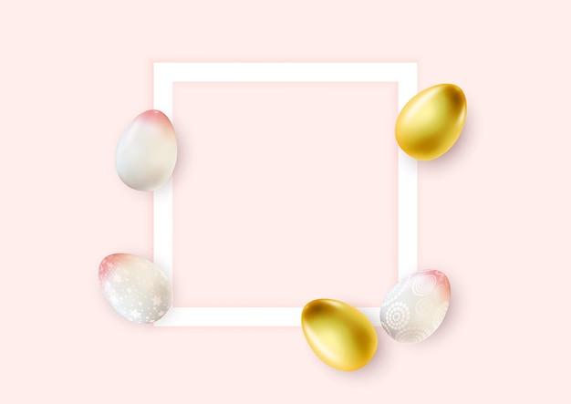 Plantilla de cartel de pascua con huevos de pascua realistas en 3d y marco vacío