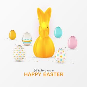 Plantilla de cartel de pascua con huevos de pascua realistas en 3d