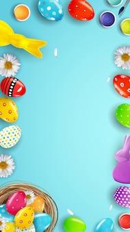 Plantilla de cartel de pascua con pintura de huevos realistas 3d