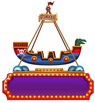 Plantilla de cartel con paseo en barco pirata en la parte superior