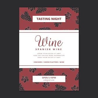 Plantilla de cartel con patrón de vino